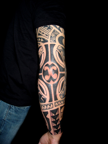 A Polynesian sleeve for a customer Tattoo By Joe Larralde