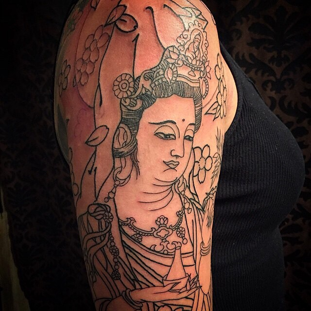 Recently started Kannon 1/2 sleeve by Josiah Laughlin